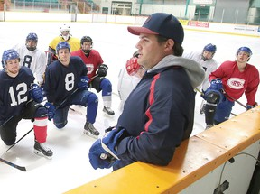Vagelli Sakellaris talks to team hopefuls during the Rayside-Balfour Canadians' main camp at Gerry McCrory Countryside Sports Complex in Sudbury, Ont. on Tuesday August 22, 2017.