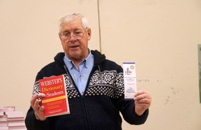 Jim Donaldson, Rotary Club of Tillsonburg, presents the Grade 3 students of Annandale Public School with dictionaries in November 2018. Funds for the dictionaries, given to all Grade 3 students in the Tillsonburg area, were raised through the Rotary Club's annual book fair, which is happening this year between Oct. 1-24. (Chris Abbott/Norfolk Tillsonburg News/File Photo)