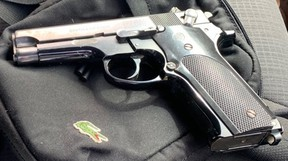 A handgun seized by Ontario Provincial Police in Napanee on Thursday. (Supplied Photo)