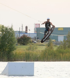 """Ed Smart executes a """"nose grab"""" trick as he takes one last run for 2020 at Timmins Wakeboard Park. Co-owners Jonathan and Justin Bonney officially closed out their banner season Tuesday, Sept. 14th. They said it was their """"most successful summer to date and look forward to further improvements for 2021.""""  Submitted/Richard S. Desjardins"""