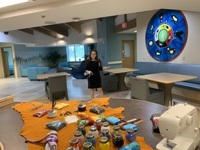 Breanna May, an occupational therapist at the North Bay Regional Health Centre takes the media for a tour Tuesday of the new Hummingbird Lodge at the North Bay Regional Health Centre. The first female forensic patient will be admitted early October. The eight-bed unit is only one of three in the province.