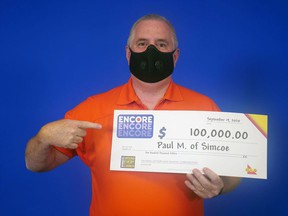 Paul MacCormack of Simcoe won $100,000 on the Encore of his Lotto Max ticket. Handout