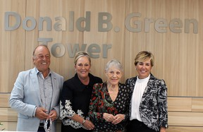Donald Green's son Donald, daughter Debbie O'Brien, wife Shirley Green and daughter Ellen Wallace at the naming ceremony for the BGH tower. Submitted photo