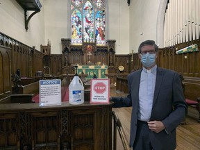 Rev. Paul Silcox of Grace Anglican Church is ready to welcome parishioners for an in-person service on Sunday for the first time in more than six months. The church has implemented many safety guidelines.