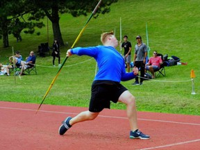 Toren Burr of the Brantford Track and Field Club competes in javelin at a recent meet.