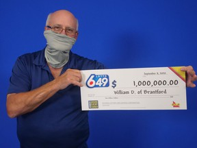 William Denholm of Brantford won the guaranteed $1-million prize in the Aug. 15 Lotto 6/49 draw.
