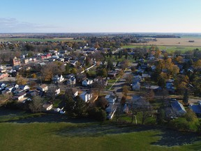 An aerial view of downtown Burford. Brant County will host two virtual town hall meetings next month to  give residents a chance to discuss  how and where to manage future growth and how to build healthy communities.