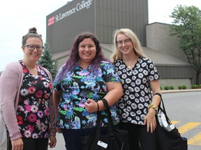 Fourth-year nursing students and roommates (from left) Kaylee Robertson, Renada Barnable and Deseree Villeneuve arrive on campus Tuesday to start the college school year. Photo on Tuesday, Sept. 8, 2020, in Cornwall, Ont. Todd Hambleton/Cornwall Standard-Freeholder/Postmedia Network