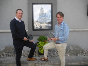Heritage-Patrimoine Cornwall honoured Bruce Russell for his residence at 121 Adolphus St., and Andre Pommier of Pommier Jewellers on Saturday, Sept. 19. Joshua Santos/Cornwall Standard-Freeholder/Postmedia Network