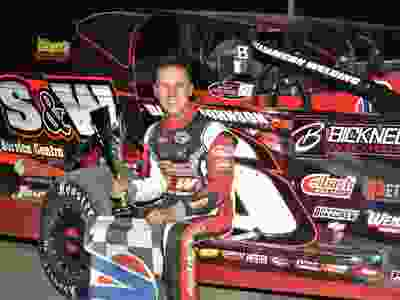 Mat Williamson in victory lane after winning the Modified feature on Sunday night at Cornwall Motor Speedway.Rick Young Photo//Cornwall Standard-Freeholder/Postmedia Network