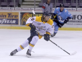 Hudson Foley of the Grande Prairie Storm (shown here) in action during the   club's final intrasquad game on Friday night at Revolution Place. The Teepee Creek resident scored two goals and two assists as Team White picked up a 6-4 win over Team Blue on the final night of main camp.