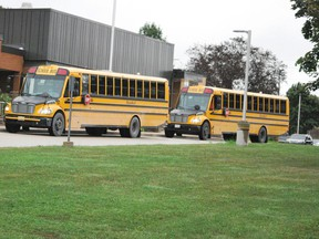 Buses arrive at Ecole Dawnview Public School in Hanover.
