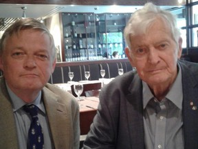 Art Milnes and Canada's 17th prime minister, John Turner, at lunch in Toronto. (Supplied Photo)