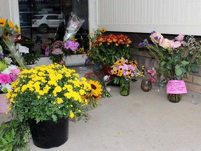 A memorial was set up in front of the downtown retail store Cowboys + Indians after owner Jim Wilson was identified as the victim of a homicide by police on Tuesday September 1, 2020 in Sarnia, Ont. Terry Bridge/Sarnia Observer/Postmedia Network