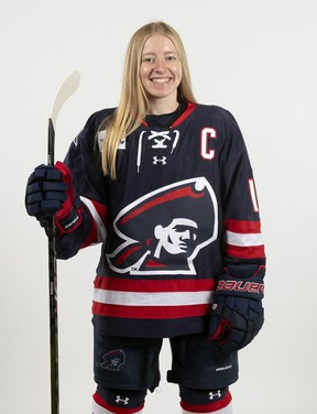 Staffa's Lexi Templeman was recently named captain of the Robert Morris University women's hockey team. (Justin Berl photo)