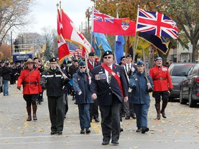The parade from Veterans Park back to the Royal Canadian Legion Branch 62 in Sarnia is pictured on Remembrance Day in 2016. This year's parade and cenotaph service will not be happening amid COVID-19, Legion officials said.