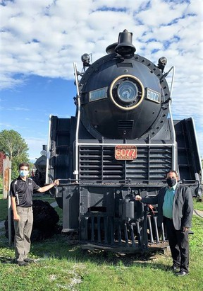 MP Marc Serre tours the Northern Ontario Railroad Museum and Heritage Centre in Capreol with the help of a summer student.