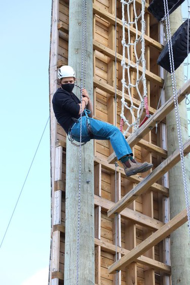 Fourth-year student Ben Kovala takes part in a climbing rescue course on the challenge tower at Laurentian University in Sudbury, Ont. on Friday September 18, 2020. Students in the Outdoor Adventure Leadership program participated in the course. John Lappa/Sudbury Star/Postmedia Network