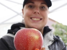 Brianna Grimaldi, project assistant with the Downtown Timmins Business Improvement Association, is all set for the final Urban Market of the season which will be next Thursday. She's encouraging people to come out and join in with an Apple Fest celebration.   RICHA BHOSALE/The Daily Press