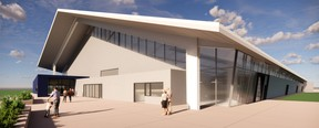 A rendering of how the main entrance to the MPAF's indoor arena will look like. At the latest Sept. 29 regular council meeting, elected officials voted 6-3 in favour of amending the 2018 capital budget by $12.1M due to site servicing cost overruns. Graphic Supplied