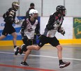 Left to right: Josh Jasper-Needham and Joshua Rowland hustle down the rink at a Grande Prairie Thrashers Midget  practice at the Crosslink Country Sportsplex in 2019. The Grande Prairie Lacrosse Association applied for a Jr. B  franchise in the Rocky Mountain Lacrosse League for 2021 but withdrew the application due to age-related changes brought on by the COVID-19 pandemic. They will apply for a junior franchise next year.