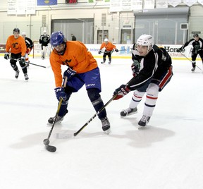 After many weeks of practice, the Sherwood Park Crusaders will finally face an actual opponent for home games this weekend, cohorted for now with the Lloydminster Bobcats. Photo courtesy Target Photography