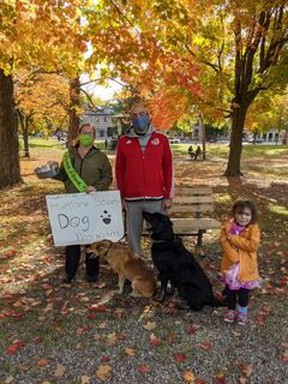 Helen Hawes, event organizer, brought human and canine friends along as she came out to help raise funds for the GDHS at their annual Puppy Prowl on October 3.  Supplied by Helen Hawes, GDHS