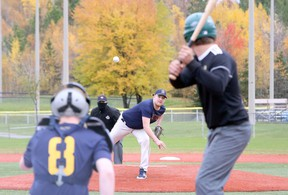Ben McLaughlin of the Bishop Alexander Carter Golden Gators delivers a pitch during SDSSAA baseball action against the Confederation Chargers at Terry Fox Sports Complex in Sudbury, Ontario on Wednesday, October 14, 2020.