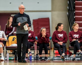 Sherwood Park's Ken Briggs coaching the MacEwan University Griffins women's volleyball team, which found out last week that their season had been canceled. Photo courtesy Robert Antoniuk