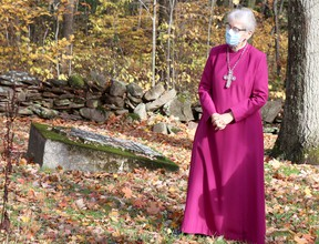 Archbishop Linda Nicholls, primate of the Anglican Church of Canada, visits Shingwauk Cemetery at Algoma University on Saturday, Oct. 17, 2020 in Sault Ste. Marie, Ont. (BRIAN KELLY/THE SAULT STAR/POSTMEDIA NETWORK)