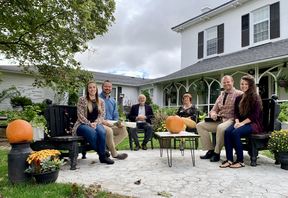 John and Willie Stam (centre), previous owners of Golden Pond Retirement Lodge and Simcoe Heritage Retirement Home have sold the homes and passed off the ownership to two local couples. The new owners are, from left, Renee Vervaet, Mike Lefler, David Lefler, and Danielle Lefler. (ASHLEY TAYLOR)