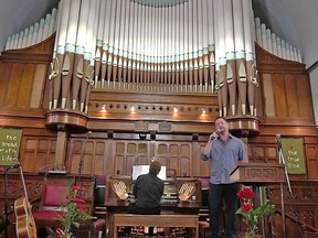"Craig McRae is accompanied by organist Murray Baer at Picton United Church for ""An Afternoon at the Movies"". Baer, who was church organist and choirmaster for more than 30 years at St. Mary's Anglican Church in Richmond Hill, released The Grandeur of the Pipe Organ in 2016. PICTON UNITED CHURCH PHOTO"