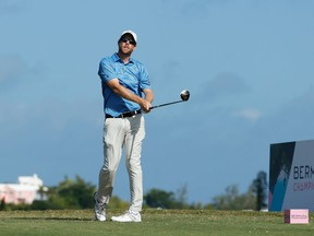 Brantford's David Hearn plays his shot from the 10h tee Friday during the second round of the Bermuda Championship at Port Royal Golf Course in Southampton, Bermuda.