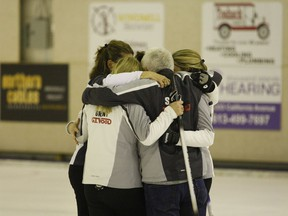 Team Middaugh celebrates after stealing two in the extra end to win the Ontario Senior Women's Curling Championship at the Brockville Country Club in Feb. 2019. The club will decide next Thursday if a 2020-2021 COVID-compliant curling season starting in November will be viable .(FILE PHOTO)