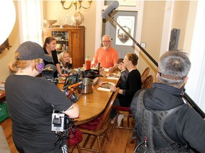 Calissa Van Kesteren, 13, and her family, including mom Natalie, grandparents Paul and Debbie Van Kesteren, and brother Liam, 5, are filmed by the crew from the show My Home My Life, while having lunch in their Chatham home. Calissa will be featured in an upcoming episode of the show, which airs on TVO. It showcases diverse families across Ontario and their home life. Ellwood Shreve/Postmedia Network