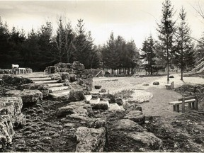 A progress photo of the waterfall pond feature in Stratford's Confederation Park from 1966. STRATFORD-PERTH ARCHIVES