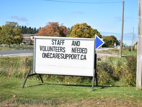 A sign along Highway 8 in Clinton advertises the need for staff. Daniel Caudle
