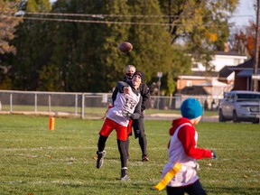With rule adaptations to promote passing over running, Cornwall Wildcats players are being forced to become better rounded receivers, such as this player throwing the ball during the club's house league semifinals on Sunday October 25, 2020 in Cornwall, Ont.  John Macgillis/Special to the Cornwall Standard-Freeholder/Postmedia Network