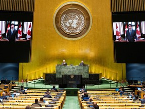 Justin Trudeau, prime minister of Canada speaks virtually during the 75th annual UN General Assembly, which is being held mostly virtually due to the COVID-19 pandemic in New York City on Sept. 25. (Reuters)