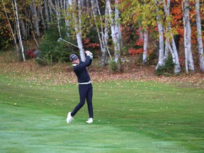 Ryan Remington, of Lively District Secondary School, competes in the city high school golf championship in Lively, Ont. on Thursday October 8, 2020. John Lappa/Sudbury Star/Postmedia Network