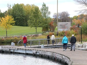 A cool fall day called for a brisk walk around the boardwalk  at Bell Park and dock area near Science North in Sudbury, Ont. on Friday October 9, 2020.