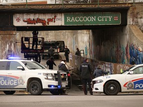 The College Street and Frood Road intersection in Sudbury, Ont., was closed in the fall for the production of the Resident Evil reboot. Filming includes simulated gunfire and a costumed cast. John Lappa/Sudbury Star/Postmedia Network