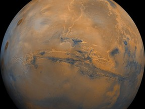 """This handout image received September 18, 2008 courtesy of the US Geological Survey shows a mosaic of the Valles Marineris hemisphere of Mars projected into point perspective, a view similar to that which one would see from a spacecraft.  AFP PHOTO/HO/USGS  ---EDITORS NOTE--- RESTRICTED TO EDITORIAL USE - MANDATORY CREDIT - """"AFP PHOTO/USGS"""" - NO MARKETING NO ADVERTISING CAMPAIGNS - DISTRIBUTED AS A SERVICE TO CLIENTS---"""