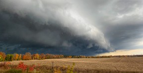"Mark Robinson spent Friday afternoon and  evening chasing what he called one of the wildest October storm systems he has never seen. The professional ""storm hunter"" and meteorologist snapped this shot near Goderich. Mark Robinson/The Weather Network"
