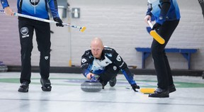Anil Mungal/Sportsnet  Skip Brad Jacobs delivers a stone in this file photo