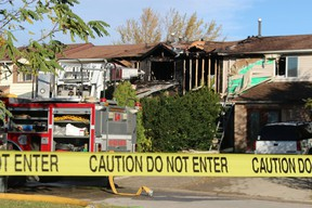 Damage from one of two fires that broke out early Tuesday morning on Sarnia's Lanark Court is shown here.