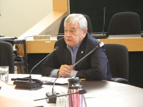 Dennis Travale, chair of Norfolk's Police Services Board, presided over a special meeting of the board on Nov. 4 where a formal role for the Norfolk OPP in the enforcement of county bylaws was on the agenda. Monte Sonnenberg/Postmedia Network