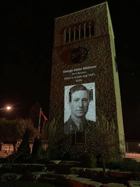 A video honouring Norfolk's fallen soldiers was to be broadcast at 6:30 p.m. on Remembrance Day. The service was to show the 405 men, including George Eaton Atkinson of Port Rowan, and one woman that lost their lives. Handout