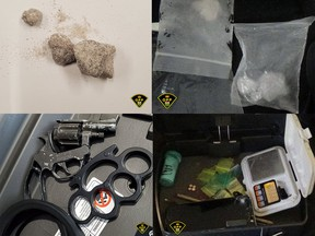 The Ontario Provincial Police (OPP) East Region Community Street Crime Unit (CSCU) seized a variety of illegal drugs including powdered fentanyl (top left), crystal meth (top right), a 22-calibre starter pistol (bottom left) and a digital scale after executing a search warrant at a Moffat Street residence on Friday, Oct. 30. OPP photos