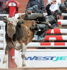 Ty Pozzobon from Merritt, BC gets air of the bull named Chicken Bone in bull riding action at the Calgary Stampede in Calgary, Alta.Saturday July 11, 2015.